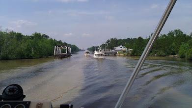 Photo: Motoring through the swing bridge.