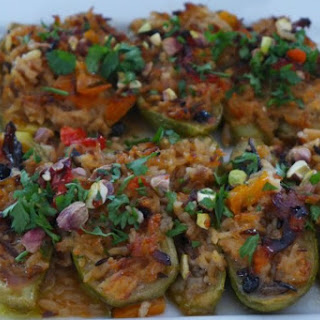 Stuffed Zucchini With Middle Eastern and Sicilian Flavors [Vegan, Gluten-Free].