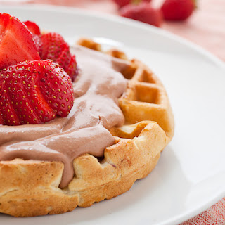 Strawberry Waffles With Nutella Whipped Cream.