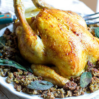 Plaoe Roast Chicken with Inside Out Stuffing Recipe