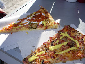 Photo: This is how Bulgarians eat pizza- smothered in mayo, mustard and ketchup.