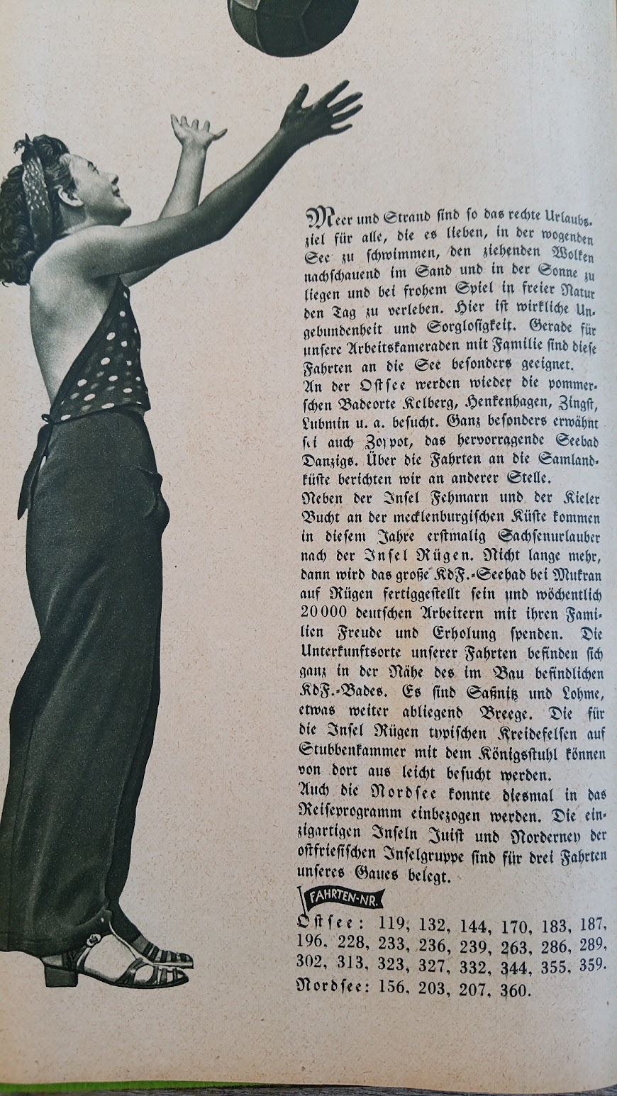 """Die Deutsche Arbeitsfront - Urlaubsfahrten 1939 - NS-Gemeinschaft """"Kraft durch Freude"""" Gau Sachsen - Katalog - Nordsee Ostsee"""