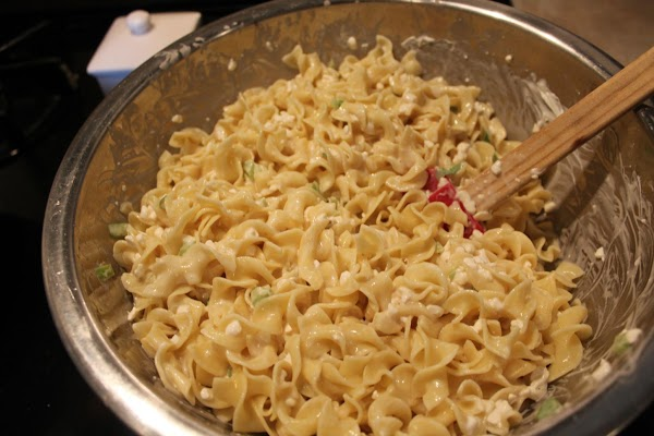 Add cooked noodles, green onion, and green pepper.