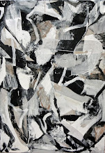 """Photo: Vintage Thrust (enamel, charcoal and paper on canvas) 60x41"""" 2014"""