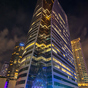The rhythm in the night (Light) by Waraphorn Aphai - City,  Street & Park  Street Scenes ( bangkok, night out, tower, colorful, cityscape )