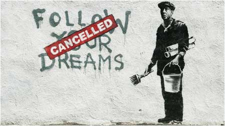 Banksy Follow Your Dreams Cancelled Graffiti - Boston, USA