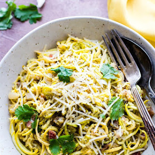 Spiralized Squash Carbonara with Pancetta {Low Carb, Quick}