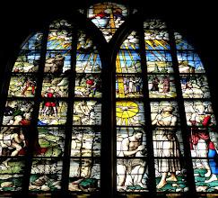 Photo: Die Goudaer Glasfenster 6: Ausschnitt aus Fenster XV: Johannes tauft Jesus im Jordan. (1555)