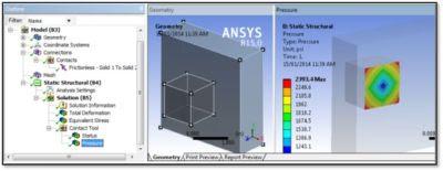 ANSYS - Результаты расчета контактного взаимодействия, данные импортированы из файлов *.CDB и *.RST