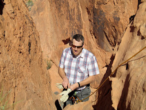 Photo: Chris preparing to descend