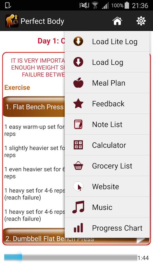 Perfect Body Building Plan Screenshot
