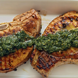 Thyme-Rubbed Pork Chops with Pesto.