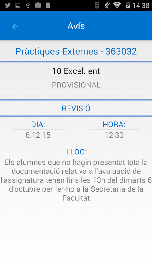 UB Avisos de qualificacions- screenshot