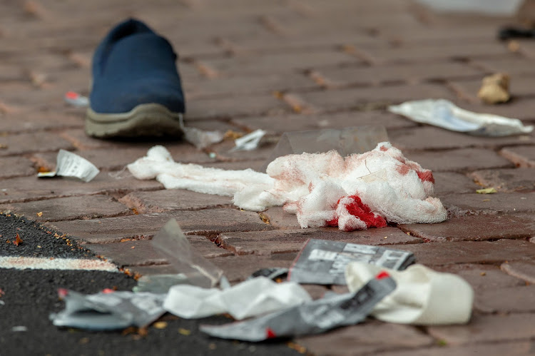 Bloodied bandages on the road following a shooting at the Al Noor mosque in Christchurch, New Zealand, March 15, 2019.