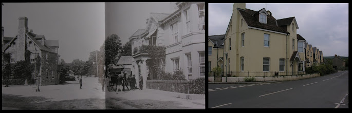 Photo: Hotels at Station Road, Bovey Tracey  The image on the left is not actually from a postcard (that I have seen) but is from a Frith photo of 1907. On the right is the Dolphin Hotel, as shown in the previous image - again complete with tourist coach! On the left of the street is a building that is shown as Beer's Railway Hotel, a competing hostelry for what must have be the not-inconsiderable traffic through the town's two railway stations.  The modern photo on the right is of the same building as Beers. I can't remember when this was converted to modern living accommodation (although it can't have been so long ago): now, one would never guess at its past history, although the basic structure remains quite clear.