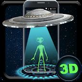 Blue Tech Galaxy UFO 3D Live Theme