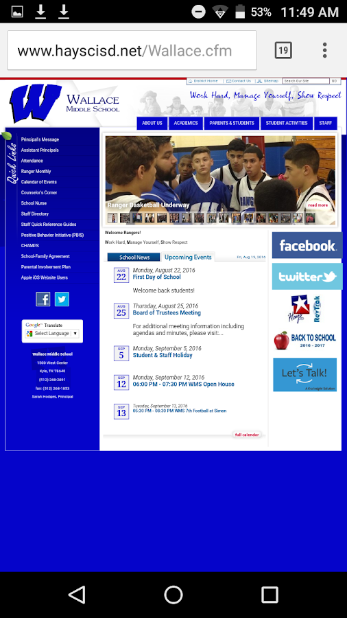 Wallace middle school- screenshot