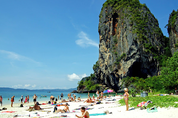 Swim at the famous Phra Nang Cave Beach at the Railay Peninsula