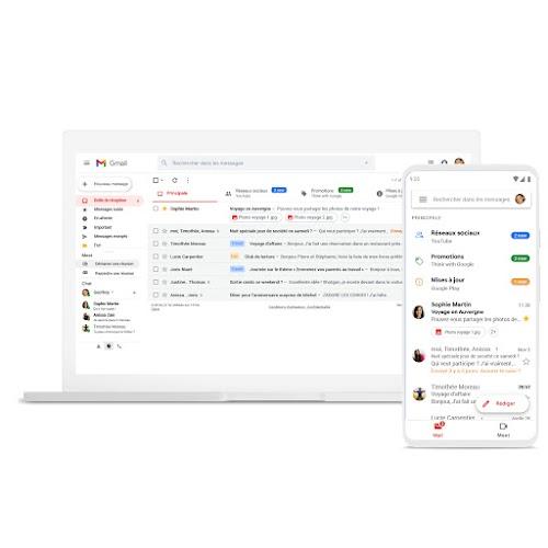 Ordinateur portable et téléphone sur lesquels Gmail est affiché