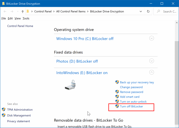 Turn off BitLocker link