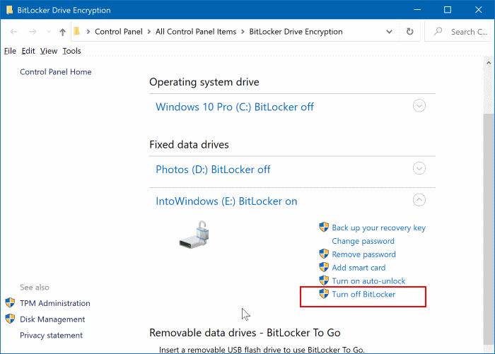 Turn off BitLocker link