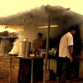Morning work by Deependra Bapna - People Street & Candids ( work, dust, lady )
