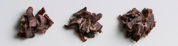 Biltong from left to right: Checkers, Pick n Pay and Woolworths.