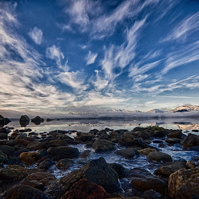 Icey Loch Lomond by Lorraine Paterson - Landscapes Beaches ( clouds, scotland, hdr, ice, loch lomond, sea, beach, rocks, photography )