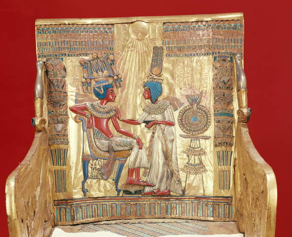 Image of the , Throne, from the Tomb of Tutankhamun (c.1370-1352 BC) New Kingdom (gold), King seated, anointed by wife Ankhesenamun; Egyptian 18th Dynasty (c.1567-1320 BC) / Egyptian, Egyptian National Museum, Cairo, Egypt, Photo © Boltin Picture Library / Bridgeman Images