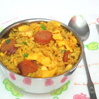 Turmeric Fried Rice With Spicy Sausage