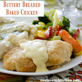 Buttery Breaded Baked Chicken.