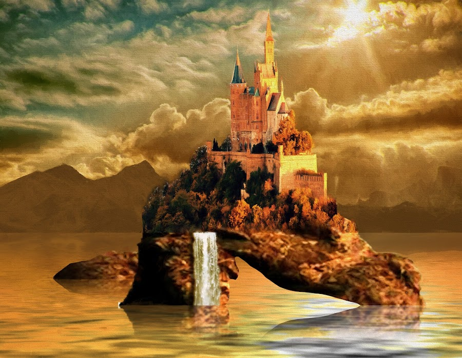 Castle Sunset by Charlie Alolkoy - Illustration Places ( water, clouds, mountains, waterfall, cliff, castle, sun )