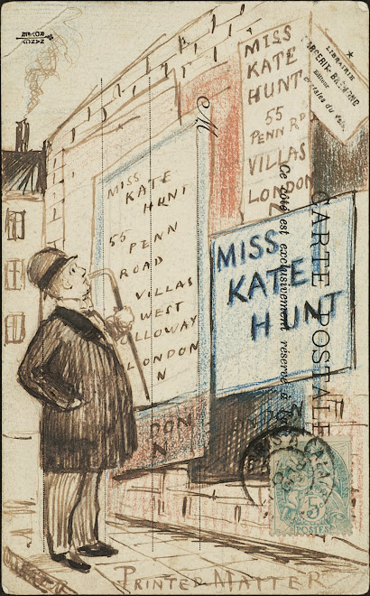 <p> <strong>L&eacute;on Coupey</strong><br /> <strong>To Miss Kate Hunt (London</strong>)<br /> Ink &amp; crayon on card<br /> 5 &frac12;&quot; x 3 &frac12;&quot;&nbsp;<br /> 1903</p> <p> Collection Holly Coupey, Toronto<br /> Set 5.1</p>