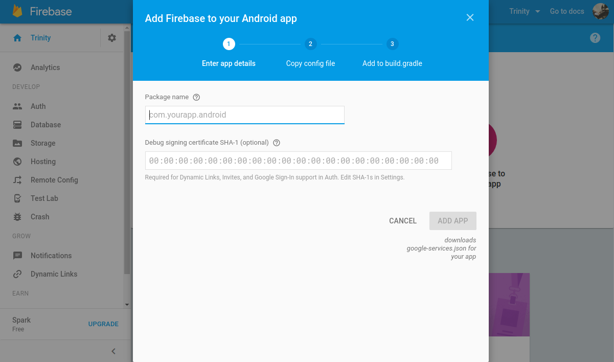 Create config file android firebase