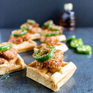 Homemade Chicken and Waffle Bites.