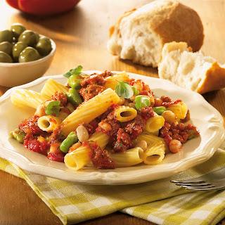 Pasta mit 2erlei Bohnen und Hackfleisch