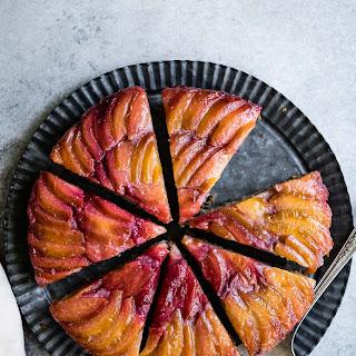 Chestnut Plum Upside-Down Cake (gluten-free).