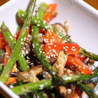 Roasted Asparagus, Red Bell Peppers and Shiitake Mushrooms w/ Garlic and Toasted Sesame Seeds.