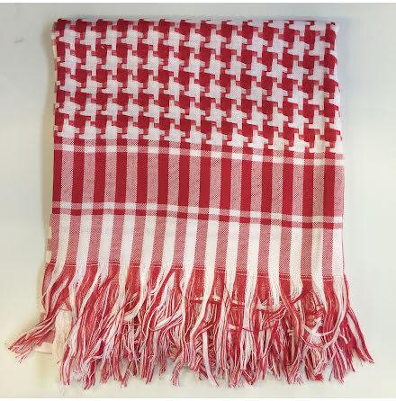 Palestinasjal - Röd/Vit