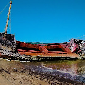 Shipwreck by Michel Bédard - Instagram & Mobile iPhone ( tide, shipwreck, blue sky, sand, iphone photos, beach, ship, river )