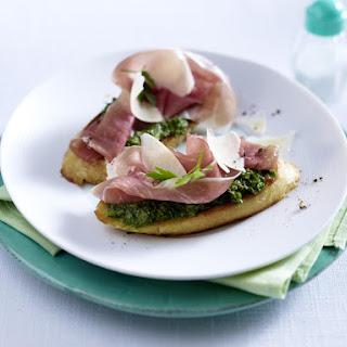 Bruschetta with Salsa Verde, Prosciutto and Parmesan