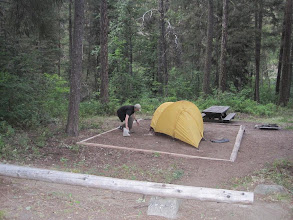 Photo: Randy setting up tent at Oriole National Forest Campground west of Conconully