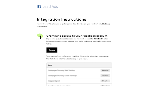 Connect Drip to Facebook Lead Ads