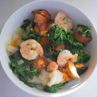 Kale, Shrimp, and Sweet Potato Skillet.