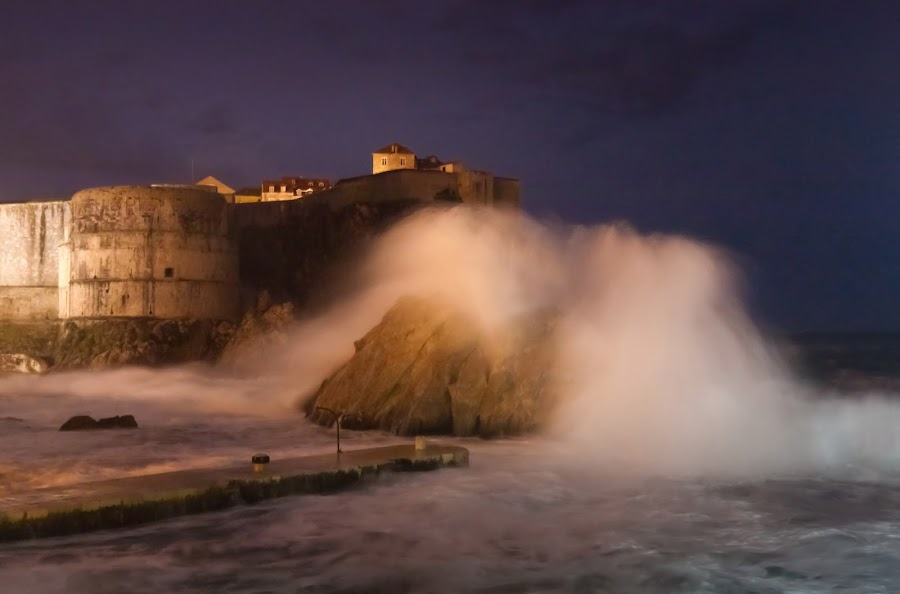 by Daniel Pavlinović - Landscapes Weather ( lightning, thunderstorm, dubrovnik, waves, croatia, gale, sea, weather, pwcstorm, storm, tornado, watersput )