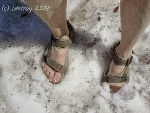 Photo: Grateful for a glimpse of snow at Crater Lake in teh summer.