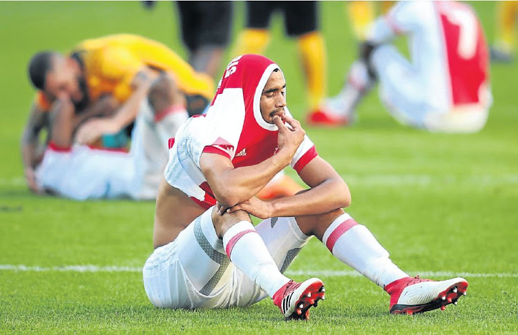 Ajax Cape Town's Tashreeq Morris is distraught after his team's defeat to Kaizer Chiefs on Saturday.