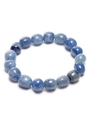 Aventurin, blå trumlad sten armband