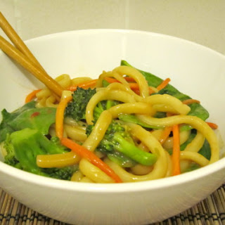Udon Noodles with Peanut Sauce.
