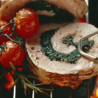 Spinach-stuffed Grilled Pork Loin